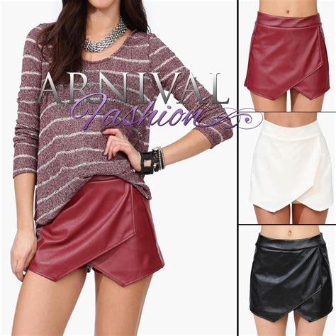 new envelope skirt shorts 6 8 10 leather look wrap