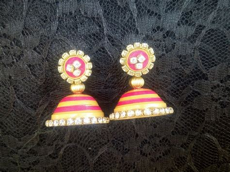 Jhumkas With Paper - paper quilling jhumka with stones new design