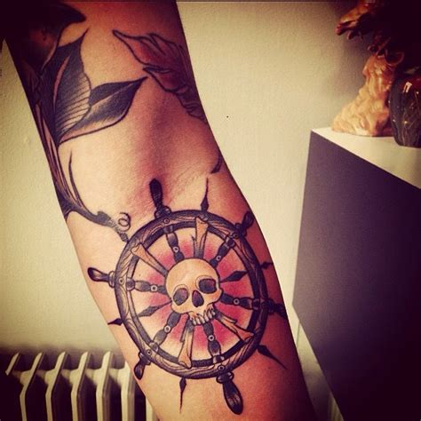 boat steering wheel tattoo skull ship wheel my tattoos wheel