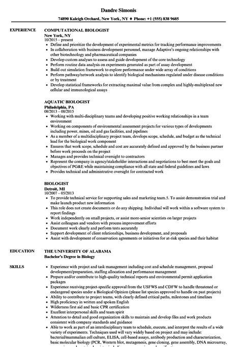 biologist resume sles velvet