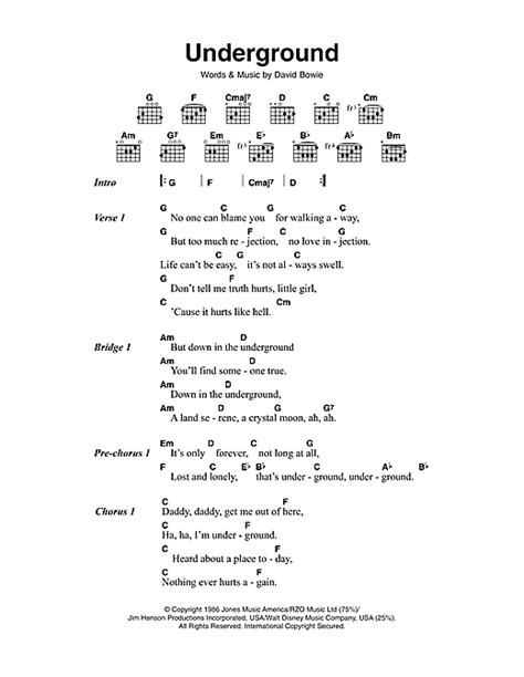 lyrics david bowie underground sheet by david bowie lyrics chords