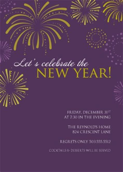 new year invite templates free printable purple fireworks new years invitation template
