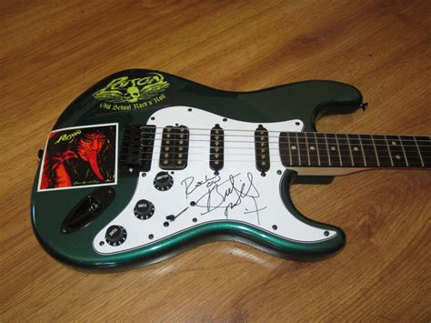 Sanjayas With Guitar by Bret Autographed Poison Fender Squier Bullet