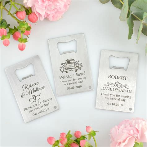 Wedding Favor by Engraved Wedding Credit Card Bottle Opener Personalized