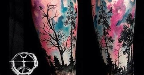 watercolor tattoo frankfurt forest watercolor tatto