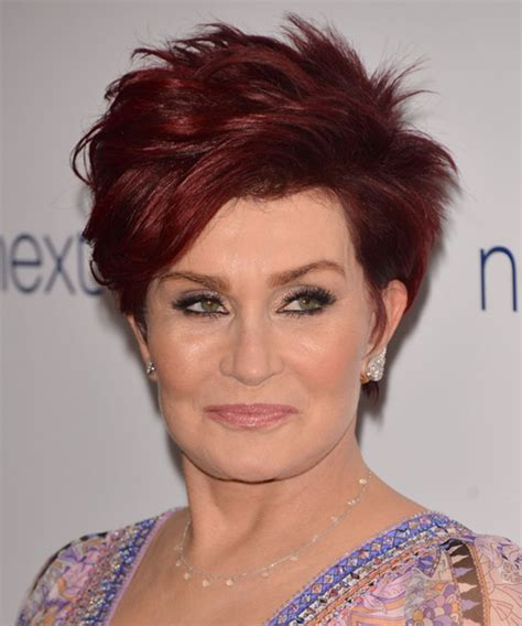 back view of sharon osbourne haircut sharon osbourne short straight casual hairstyle medium red