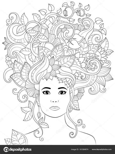 Vetorial mão ilustrações desenhadas mulher com cabelo