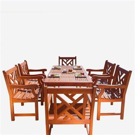 7 piece wood patio dining set v98set11