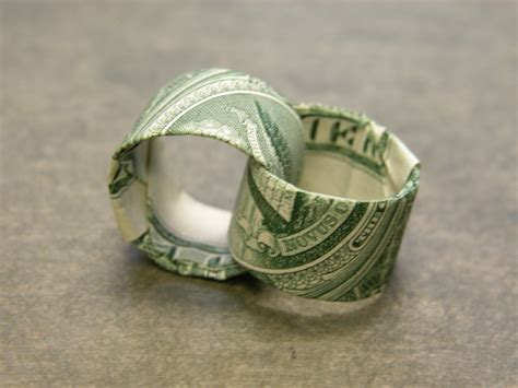 Origami Ring - dollar bill two interlocking rings aka for richer or for p