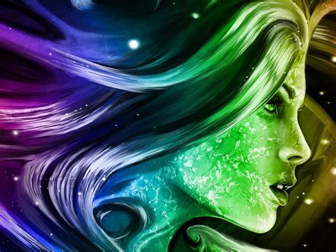 rainbow girl  fantasy abstract art digital hd wallpapers