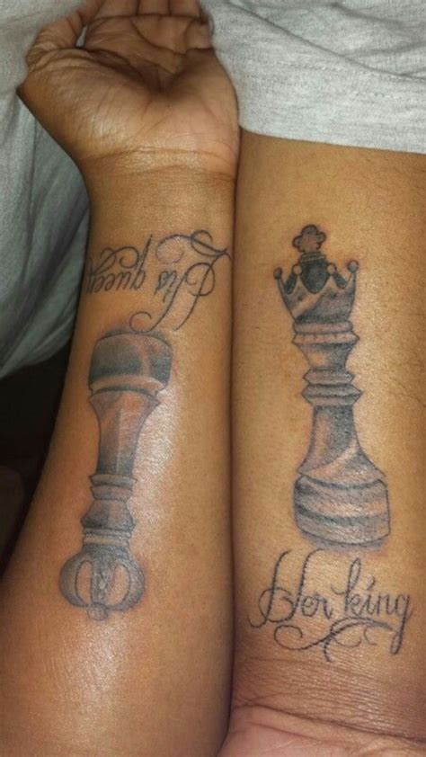 tattoo queen chess piece 45 cute king and queen tattoo for couples buzz 2016