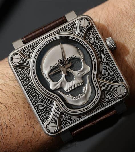 bell amp ross br01 burning skull tattoo watch hands on