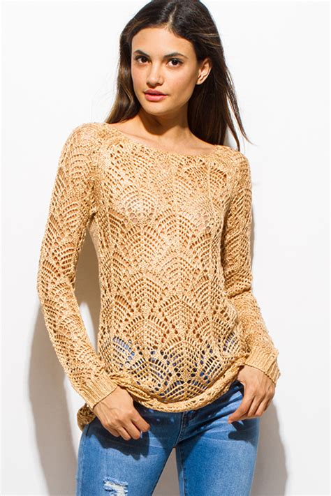 boat neck beige sweater shop gold beige boat neck long sleeve sheer crochet