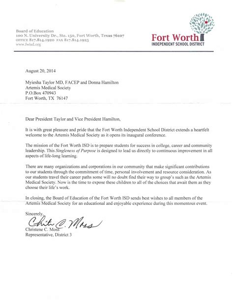 Service Member Thank You Letter Welcome Letter From Fort Worth Independent School District Artemis Society