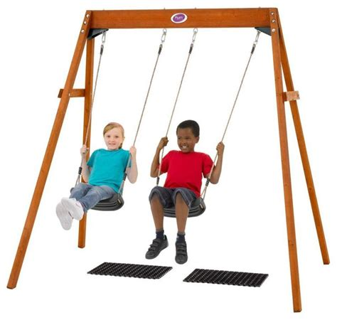 kids double swing plum wooden double swing set contemporary kids