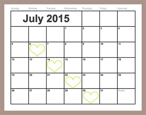 printable monthly calendar july 2015 free printable july calendar easy print 2015 2016 2017