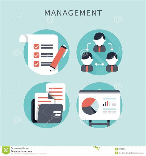 icon design management flat design concept of business management stock vector