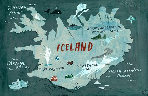 map iceland iceland map with sights