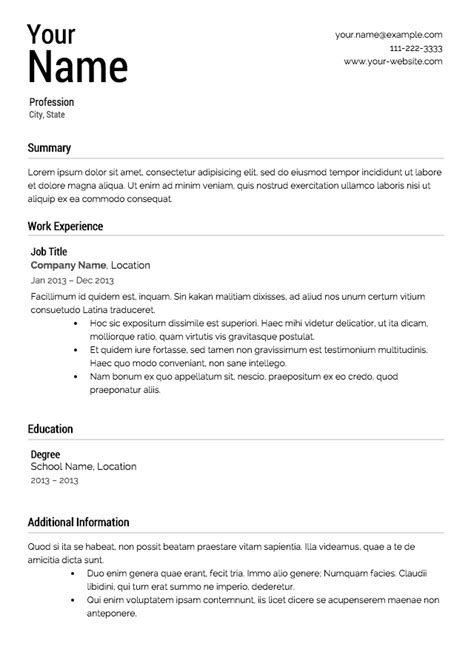 Resume Templets by Free Resume Templates From Resume