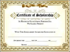 award certificate templates for scholarship award certificate sle templates