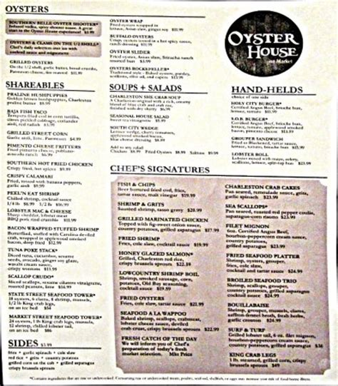 oyster house menu menu picture of oyster house charleston tripadvisor