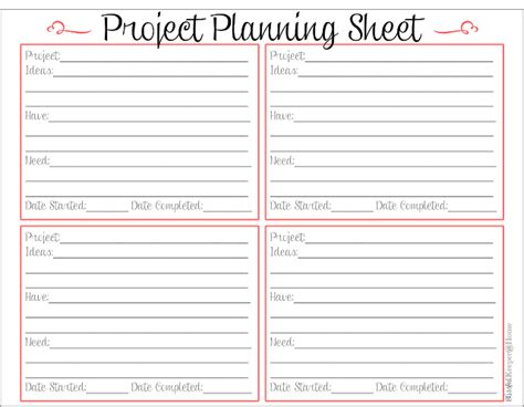 Blissful Keeper At Home Project Planning Sheet Sheets Project Plan Template