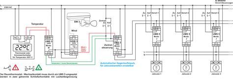 jalousie zentralsteuerung schaltplan jalousiesteuerung mit raumthermostat und windw 228 chter