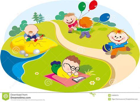 clipart bambini che giocano bambini che giocano nel prato illustrazione vettoriale