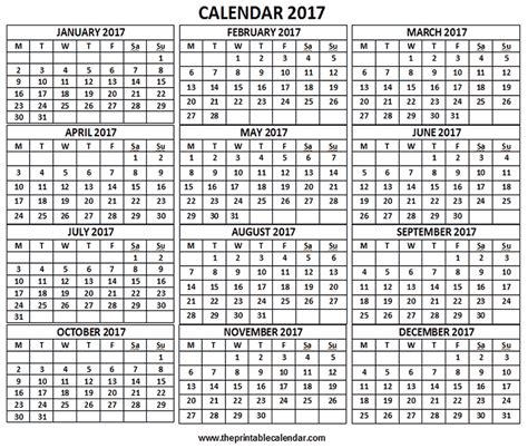 printable calendar pages 2017 2017 calendar 12 months calendar on one page free