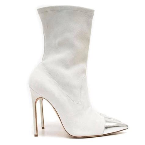 manolo blahnik pointed sock boots with silver toe
