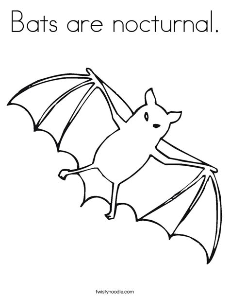 Bats Are Nocturnal Coloring Page Twisty Noodle Nocturnal Animal Coloring Pages