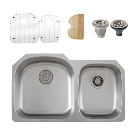 Ticor Kitchen Sinks Ticor S105 8 Undermount Stainless Steel Double Bowl