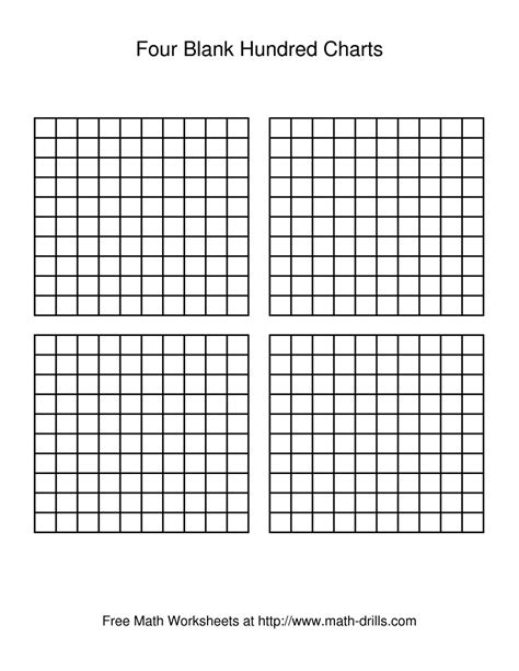 printable hundreds chart 4 per page four blank hundred charts