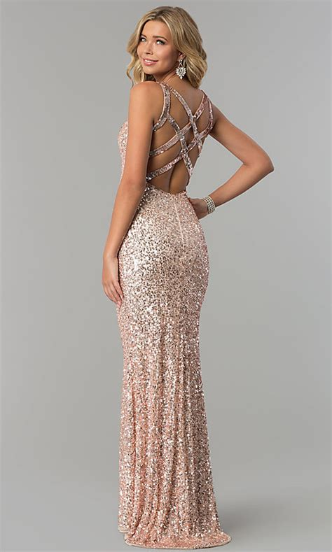 open back metallic sequin prom dress promgirl