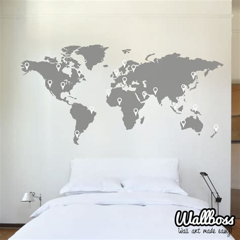 map of world wall sticker 150cm world map decal wall sticker stencil bedroom globe