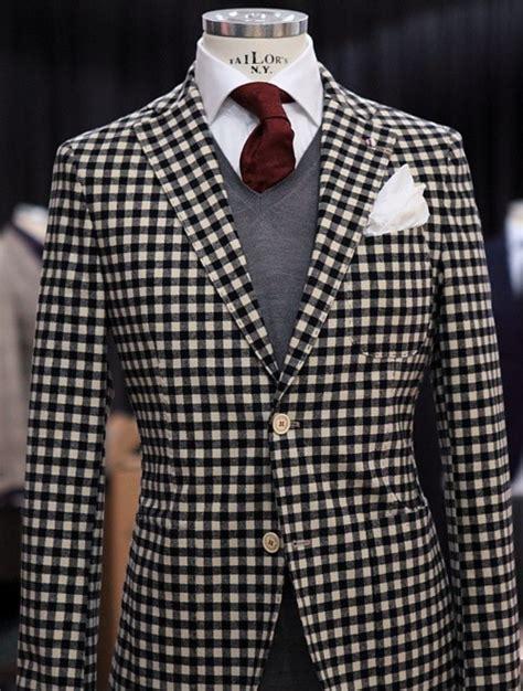 black and white pattern jacket eccentric ways to wear a burgundy tie this winter season