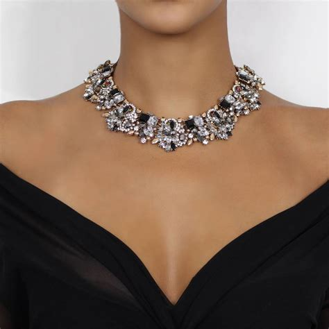Statement Necklace black and gold rhinestone statement necklace by by