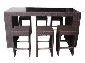 High Bar Table Set Outdoor Wicker Patio Furniture 7 Pc High Top Dining Set In Black Wicker