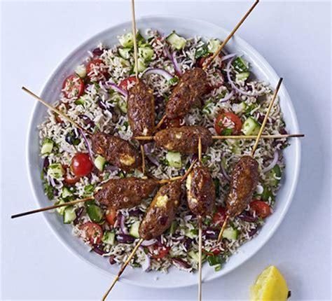 lamb kebabs and greek salad spicy lamb feta skewers with greek brown rice salad
