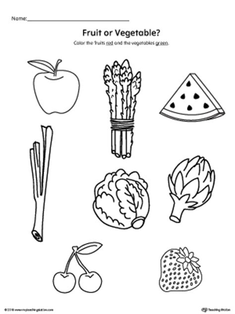 6 vegetables that come in 3 colors color the fruits and vegetables printable worksheets