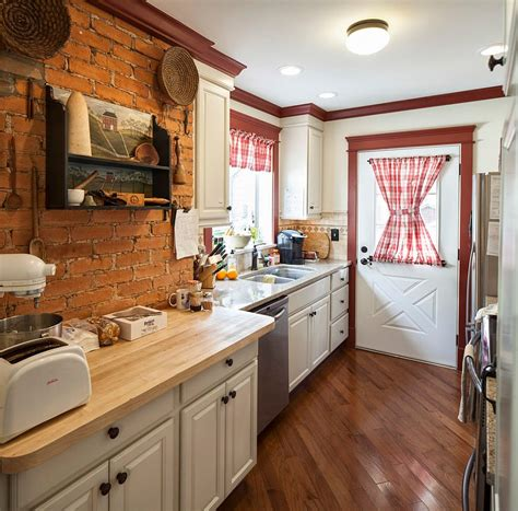 farm kitchen cabinets farmhouse kitchen with antique shelf and brick wall