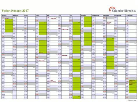 Jahreskalender 2018 Hessen Ferien Hessen 2017 Ferienkalender Zum Ausdrucken