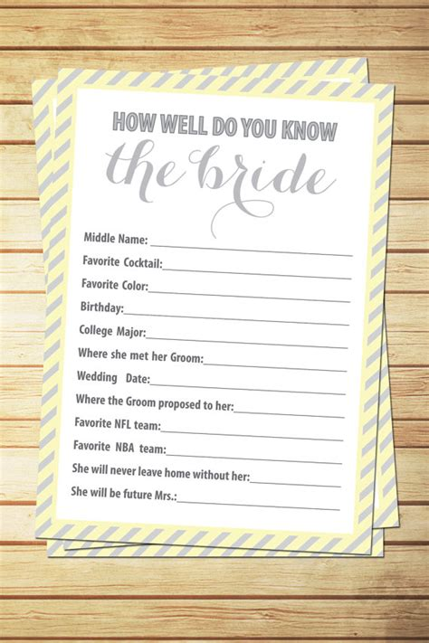 free printable personalized bridal shower games items similar to printable bridal shower game how well do