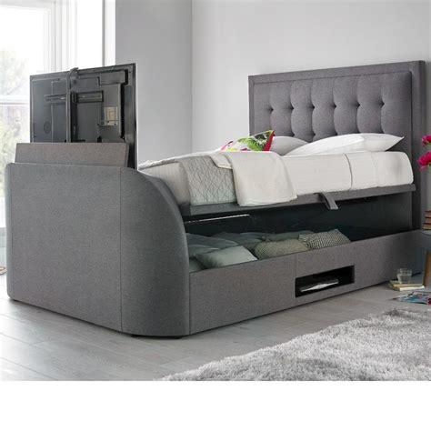 tv bed uk metro grey fabric ottoman tv bed