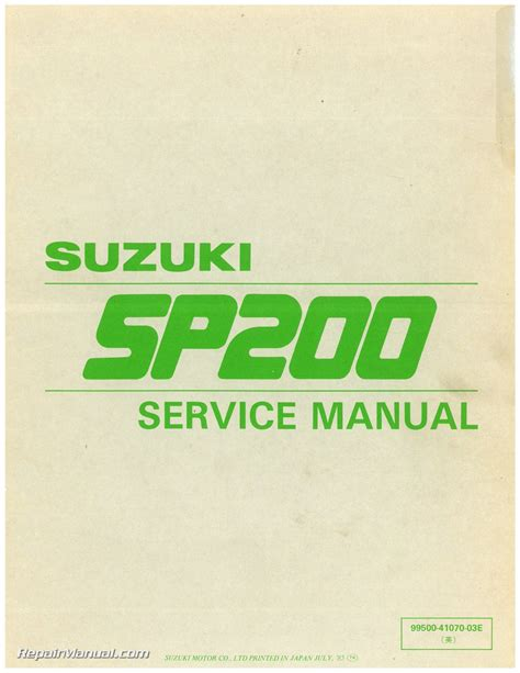 suzuki service manual ebay 1986 suzuki sp200g dr200 motorcycle service manual 800 426 4214 ebay