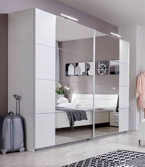 Slumberhaus Davos German Made Modern White Mirror Bedroom Furniture Wardrobes Sliding Doors
