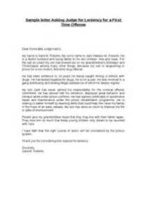 Sample Letter To Judge For Leniency Letter Of Recommendation