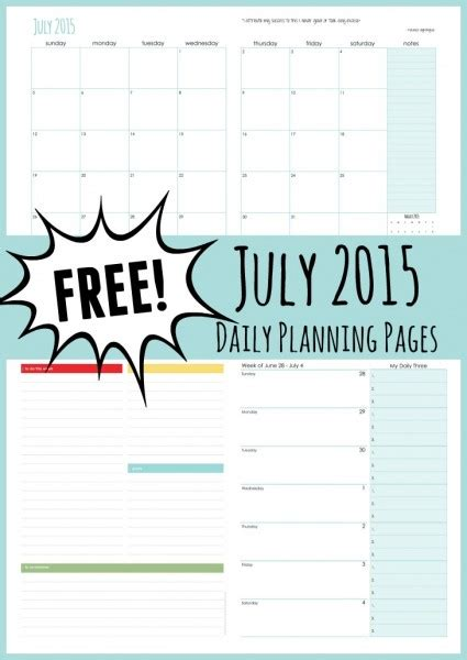 daily planner july 2015 july personal planner pages free printable for mom