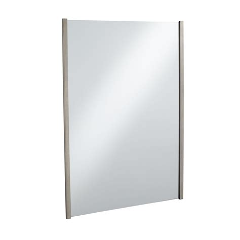 bathroom mirror brushed nickel shop kohler loure 33 25 in h x 24 75 in w vibrant brushed