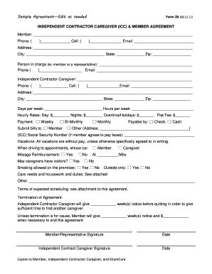Sle Caregiver Contract For Family Member Edit Fill Out Print Download Online Templates Free Caregiver Contract Template